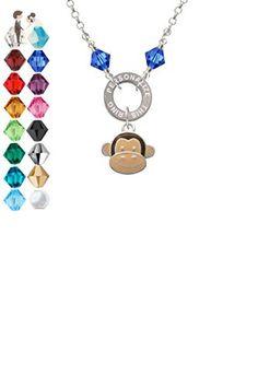 Monkey Face - Custom Engraved Eternity Circle Crystal Necklace - Wedding nacklaces (*Amazon Partner-Link)