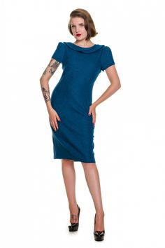 Clothing - 60s Jackie dress in Petrol blue