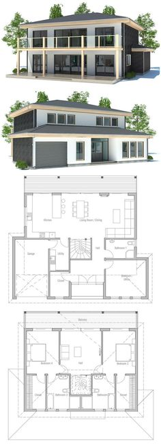 Small & Simple House Plan in Modern Architecture. Floor Plan from ConceptHome.com