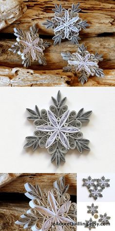 Snowflakes Grey White Christmas Tree Decoration Winter Ornaments Gifts Toppers Fillers Office Corporate Paper Quilling Quilled Handmade Art
