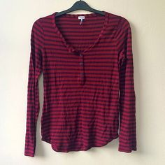 SPLENDID long sleeve shirt. So soft! Half button up. Cotton and rayon blend. Red and deep red stripes. Splendid Tops Tees - Long Sleeve