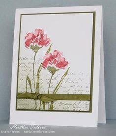 handmade card by Heather Telford ... collage style stamping with script handwriting softly stamped in background, a bit of sponging and water color flowers stamped on top ... simple wrap of grosgrain ribbon tied in a bow ... lovely!