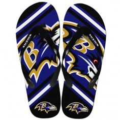 buy online e639f 63541 Enjoy game day, or any day, in these Baltimore Ravens NFL Unisex Big Logo  Flip Flops.