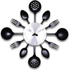 ZHPUAT 14 Inch Stainless Steel Housewares Cutlery Indoor/Outdoor Wall Clock Black