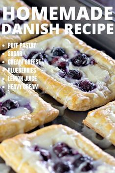 Homemade Danish Recipe This simple old fashioned homemade danish combines the flavors of lemon and fresh blueberries with a cream cheese filling and topped with a drizzle of icing. The flaky pastry is a great breakfast treat with coffee or dessert. Puff Pastry Desserts, Mini Desserts, Puff Pastry Danish Recipe, Sweet Puff Pastry Recipes, Puff Pastries, Phylo Pastry Recipes, Danish Pastries, Pastries Recipes, Sweet Pastries