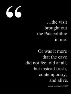 """Inside the Chauvet Cave: """"…the chasm between an intellectual appreciation and an emotional experience is very deep. On entering the cave, the images were immediately and effortlessly more sophisticated and poignant than imaginable."""" —Peter Robinson in a rare 2005 visit to La grotte Chauvet-Pont-d'arc."""