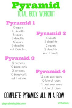 pyramid workout: this exercise is a personal fitness activity. this fitness activity can be done at home. the cost of this exercise is free. in the SPORTFITT training principles it would be progression. Zumba, Pyramid Workout, Friday Workout, Fitness Friday, Lose Weight, Weight Loss, Reduce Weight, Gym, I Work Out