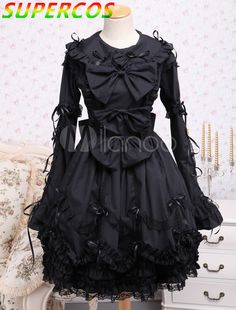 >> Click to Buy << Free shipping! New Arrivals! High quality ! Black Turndown Collar Bows Cotton Gothic Lolita Dress #Affiliate