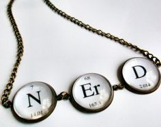 Nerd Periodic Table Brass Necklace Geek by landofrapture on Etsy, $16.00