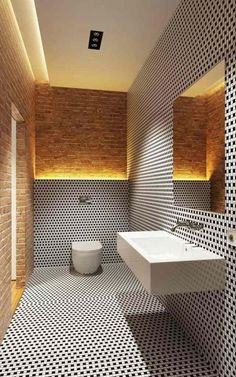bad ohne fenster schwarz weiße mosaik backsteinwand indirekte beleuchtung bathroom without window black white mosaic brick wall indirect lighting Bathroom Interior, Modern Bathroom, Small Bathroom, Houzz Bathroom, Modern Sink, Bathroom Black, Master Bathroom, Bathroom Toilets, Bathroom Tiling