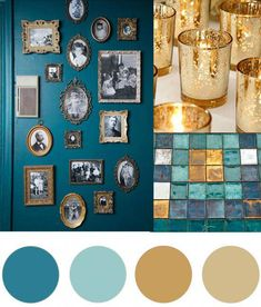 Christmas Colour Palette- Teal & Gold Today's Christmas colour palette of teal and gold is somewhat of a modern take on green and gold but I fell in love with the richness of the teal combined with the different shimmering golds. Color Schemes Colour Palettes, Gold Color Scheme, Kitchen Colour Schemes, Kitchen Wall Colors, House Color Schemes, Living Room Color Schemes, House Colors, Gold Palette, Gold Colour