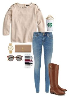 """""""the pumpkin spice latte is at Starbucks now!!! """" by sassy-and-southern ❤ liked on Polyvore featuring J.Crew, Burberry, Tory Burch, Michael Kors and Yves Saint Laurent"""