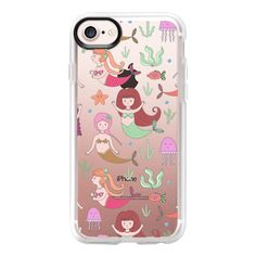 Cute girly pink coral floral little mermaid pattern - iPhone 7 Case... ($40) ❤ liked on Polyvore featuring accessories, tech accessories, iphone case, pattern iphone case, clear floral iphone case, floral iphone case, apple iphone case and iphone cover case