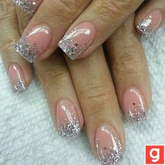 Pink and Silver Glitter. Beautiful,  I love these nails!!! :-)