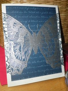 Lovely use of silver embossing. Wish I knew who created this card. Stampin Up - Swallowtail Butterfly Card