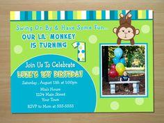 Custom Monkey Boy 1st Birthday Invitation  by SquigglesDesigns, $10.00