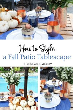 Style a Fall Patio Tablescape. Combine elegant and casual style for fall outdoor dining. Metallic accents add modern design for the patio. Centerpieces, Table Decorations, Outdoor Dining, Tablescapes, Modern Design, Place Cards, Table Settings, Patio, Fall