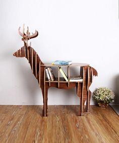 elk deer desk bookcase home furniture Europe style wooden Bookshelf deer head home decoration accessories Wooden Home Furniture Livingroom Storage