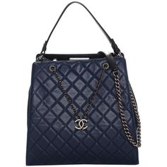 b4cf255433845f Chanel Navy Blue Quilted Caviar Leather Accordion Large Bucket Bag ($3,200)  ❤ liked on