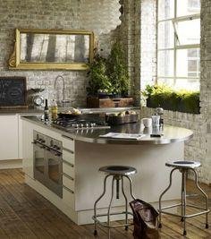 parede de tijolo Kitchen Backsplash Idea