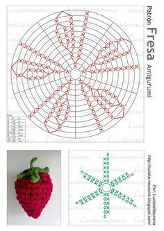 Crochet Baby Toys, Crochet Dolls, Crochet Crafts, Crochet Flower Patterns, Crochet Patterns Amigurumi, Crochet Flowers, Crochet Strawberry, Crochet Fruit, Crochet Diagram