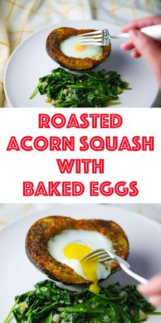 Roasted Acorn Squash with Baked Eggs is perfect for #breakfast, #brunch, or anytime of the day! #acornsquash #eggs #glutenfree