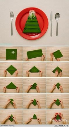 Check out the photo of Crea titled Great Napkin Folding Technique for Weina . Look at the photo of Crea titled Great Napkin Folding Technique for Christmas and other inspiring p Christmas Tree Napkin Fold, Noel Christmas, Simple Christmas, Winter Christmas, All Things Christmas, Christmas Napkins, Christmas 2017, Christmas Cookies, Navidad Simple
