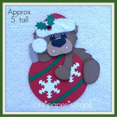Christmas Red Ornament Cardstock Bear Paper Piecing
