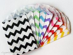 300 Chevron Stripe Bitty Bags - You pick the colors - Paper Favor Bags on Etsy, $59.00