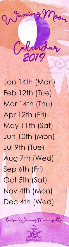 Waxing Moon Calendar 2019 - Organise your prosperity spells! Moon Spells, Wiccan Spells, Magic Spells, Witchcraft, Magick, 2019 Calendar, Moon Calendar, She's A Witch, Prosperity Spell