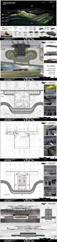 JAIPUR AIRPORT design - studio project - Sem VII architecture design sheet composition