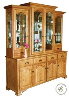 Our Vintage China Hutch features the crown moulding, arching raised panel doors, and bracketed feet one expects from a traditional china cabinet. Amish Furniture, Solid Wood Furniture, Handmade Furniture, House Furniture, Antique Furniture, Furniture Ideas, Vintage Hutch, Vintage China, Wooden Display Cabinets