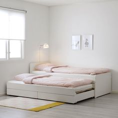 SLÄKT Bed frame w/pull-out bed + storage, white, Twin. Under this bed frame there is an extra bed and 2 drawers for the quilt and pillow. Cama Ikea, Ikea Bedroom, Bedroom Furniture, Bedroom Ideas, Bedroom Decor, Master Bedroom, Playroom Furniture, Headboard Ideas, Teenage Room Decor