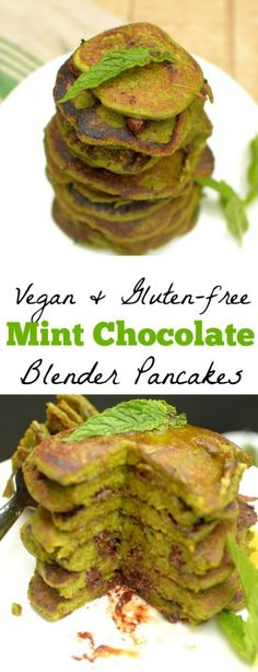 Get a fresh start to your day with these Mint Chocolate Chip Blender Pancakes! They're sweet, filling + taste like the classic ice cream flavor! Vegan Breakfast Recipes, Healthy Breakfast Recipes, Brunch Recipes, Healthy Brunch, Brunch Dishes, Best Vegan Recipes, Real Food Recipes, Vegetarian Recipes, Favorite Recipes