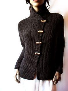 Capa de suéter de punto a chaqueta tejida Merino lana Cardigan | Etsy