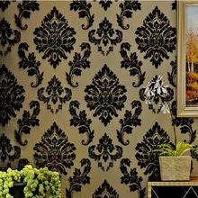 European Luxury Reliefs 3D Wallpaper Black Damask Floral Wall Paper Living Room Bedroom Wallpaper For Walls 3d papel de parede(China (Mainland))