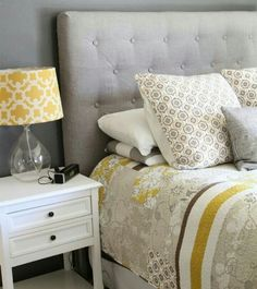 I love this!!! Mustard, grays, brown and off white!!
