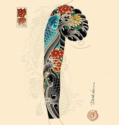 Koi Tattoo Sleeve, Dragon Sleeve Tattoos, Koi Fish Tattoo, Arm Tattoo, Japanese Tattoo Symbols, Japanese Tattoo Art, Japanese Tattoo Designs, Japanese Sleeve Tattoos, Tatuajes Irezumi