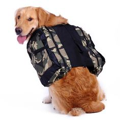Adjustable Dog Backpack Harness with Water Bowl