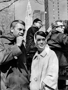 "Steve McQueen and Natalie Wood on the set of ""Love with the proper stanger"""