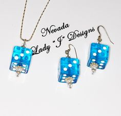 Lucky Blue Dice Necklace and Earrings Sterling Silver Chain Bunco Craps Casino by NevadaLadyJ on Etsy
