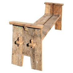 For Sale on - A rustic country bench with side arms, based on an antique Scottish design, using 250 year old chestnut and oak, can be disassembled for shipping Diy Wood Bench, Rustic Bench, Wood Benches, Bar Outdoor, Country Bench, Country Decor, Rustic Outdoor Furniture, Rustic Outdoor Benches, Painted Benches