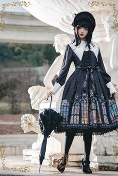 The Holy Cross~Gothic Lolita OP Short/Long Version + Detachable Collar+ Waist Belt Gothic Lolita Fashion, Punk Fashion, Harajuku Fashion, Kawaii Fashion, Kawaii Dress, Cosplay Outfits, Emo Outfits, Japanese Street Fashion, Classic Outfits