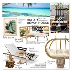 """Dream Beach House"" by vanjazivadinovic ❤ liked on Polyvore featuring interior, interiors, interior design, home, home decor, interior decorating, Amazonas, Selamat Designs, Pillow Decor and Skargaarden"