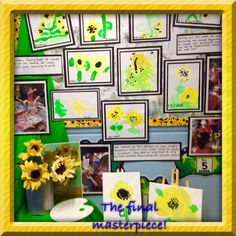 Our display board after our Art Week, the background is starry night inspired shaving foam prints, clay sunflowers and paintings in the style of Van Gogh.