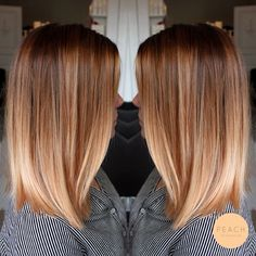 Lob Haare mit weichem Ombre in Kupferblond / Roséblond – # Check more at Praise hair with soft ombre in copper blonde / rose blonde – # Check more at … Balayage Hair Blonde, Brown Blonde Hair, Copper Blonde Hair, Auburn Balayage, Brunette Hair, Dark Hair, Copper Balayage Brunette, Auburn Blonde Hair, Honey Balayage