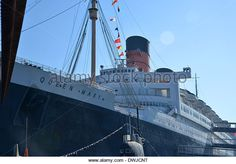 Queen Mary, 1936 art deco Cunard ocean liner, moored at Long Beach ...