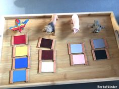 Sensory Play with Montessori color tablets