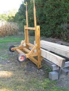 Here's a cart that has worked well for us.Designed to allow loading by wide-spread forks (on front-end loader in yard), and unloading by sling and overhead hoist (in shop). Woodworking Equipment, Woodworking Workbench, Woodworking Projects Plans, Workbench Plans, Timber Framing Tools, Timber Frames, Best Random Orbital Sander, Wood Mill, Woodworking