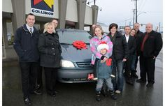 Tara Patrick, winner of the 2012 Chilliwack Times Fix Auto Christmas Car Giveaway poses with local business donors. Christmas Car, Giveaway, Poses, Business, Figure Poses, Store, Business Illustration